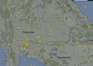 タイ東北部イサーンを飛行する旅客機レーダー情報
