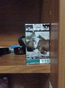 子供が呼吸器系疾患に侵されているタバコの警告写真
