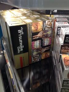 バンコク国際空港の免税店で販売されているタバコ