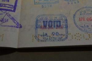 台湾入国 VOID のスタンプ