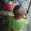 タイの子供のちょんまげのような髪型